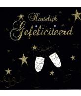 Kaart Hartelijk Gefeliciteerd 2 Wijnglazen Zwart Luxe wenskaart met glitter en folie