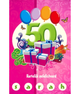 Kaart 50 Hartelijk Gefeliciteerd Sarah 3D Wenskaart met blanco binnenkant