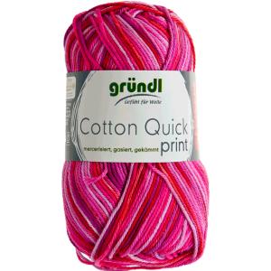 Cotton Quick Print Fuchsia-Rood Multicolor 50 gram