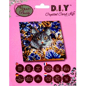 Crystal card kit A4 Cat & flowers 18x18