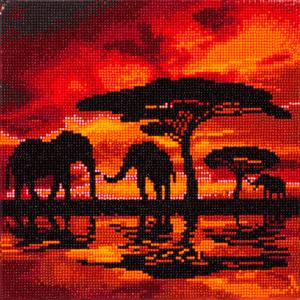 Framed crystal art kit elephant silhouette 30x30cm (CAK-A14)