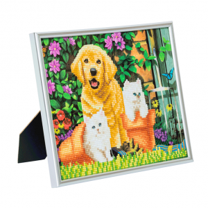 Silver photo frame kit crystal art Cat and dog friends partial