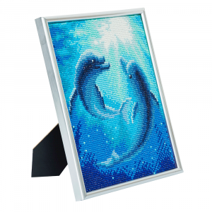 Silver photo frame kit crystal art Dolphin dance full