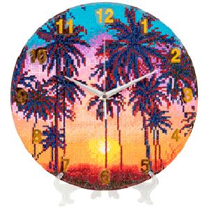 Crystal art clock palmbomen partial