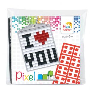 Pixelhobby medaillon sleutelhanger startset i love you