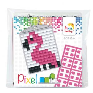 Pixelhobby medaillon sleutelhanger startset flamingo