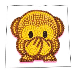 Crystal motif sticker kit monkey with tool (camk-25 + tool)