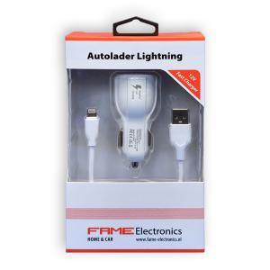 Autolader Duo USB lightning Fame Electronics