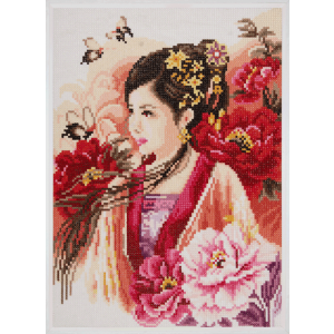 Diamond Painting asian lady in pink 30x43cm