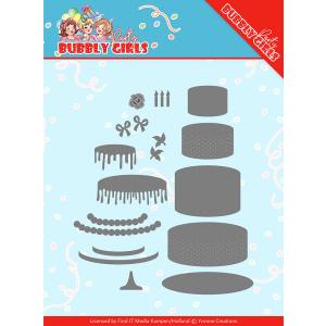 Snijmal birthday cake bubbly girls party Yvonne Creations