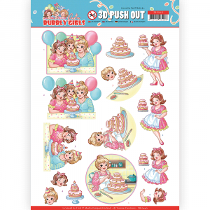 3D pushout vel baking Bubbly Girls Party van Yvonne Creations