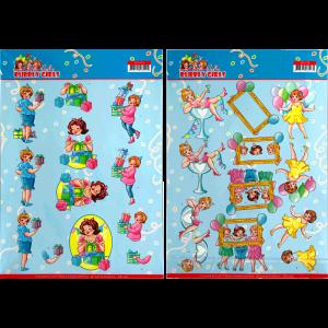 Set van 2 verschillende 3D knipvellen Bubbly girls party Yvonne Creations