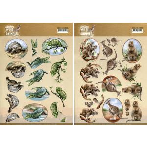 Amy Design Wild Animals Outback 3D knipvellen reptielen en kangaroo