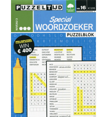 Puzzelblok Woordzoeker Special 3 punt nr 16