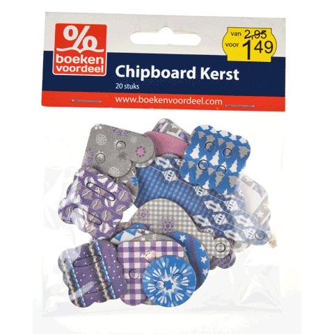 Bedrukt Chipboard Kerstfiguren Blauw-Zilver