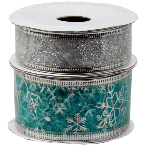 Cadeaulint blauw-zilver xmas