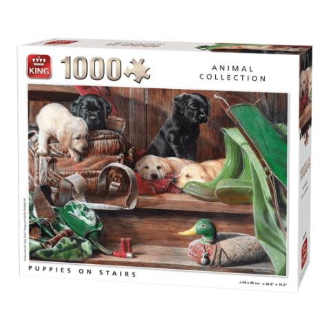 Puzzel puppies on stairs 1000 stukjes