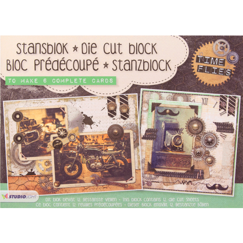Stansblok A5 Time Flies (6 kaarten met folieopdruk)