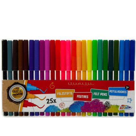 Viltstiften kleur (25 stuks in hoes)