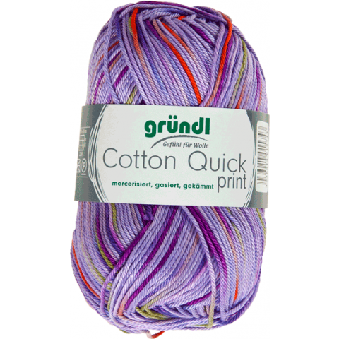 Cotton quick print lila-groen-oranje multicolor 50 gram