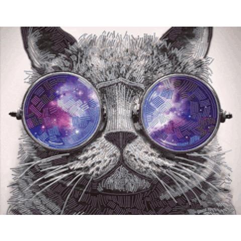 Diamond painting kat met zonnebril 40x50cm