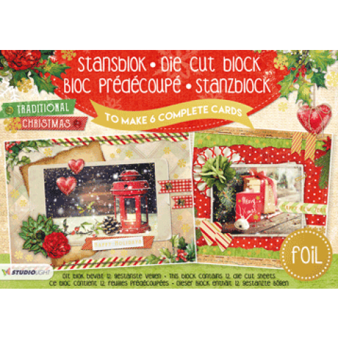Stansblok A5 traditional christmas 6 kaarten met folie opdruk