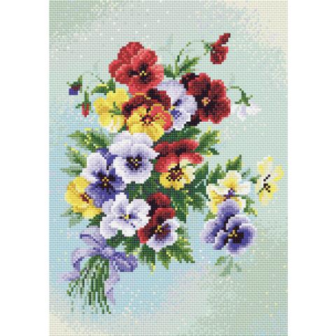 Diamond Mosaic Pansy Medley viooltjes 27x38cm