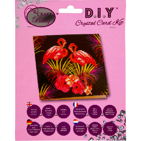 Crystal card kit flamingos 18x18cm