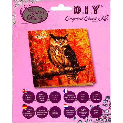 Crystal card kit autumn owl 18x18cm
