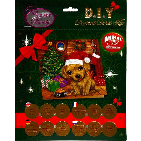Crystal card kit hondje met grote ogen 18x18cm