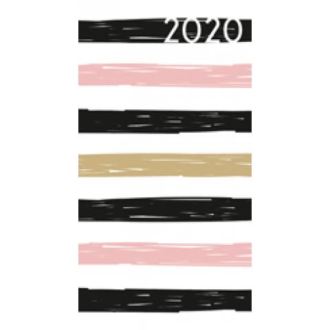 Agenda 2020: Moderne strepen (zwart, roze, beige)