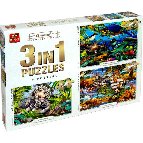 Legpuzzel 3in1 Animal collection 1000 stukjes