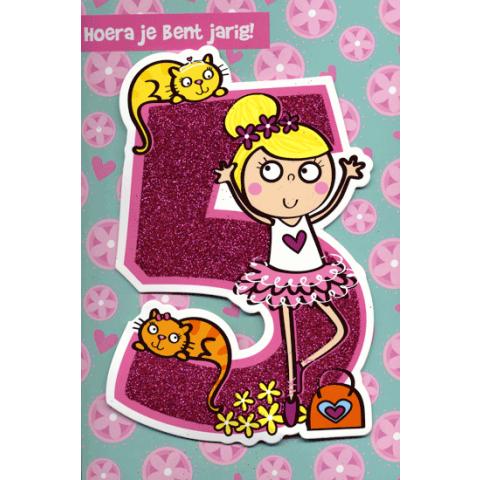 Kaart Hoera jij bent jarig 5 jaar Luxe uitgestanste kaart met glitter