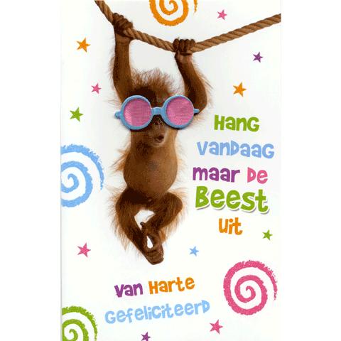 Kaart Van Harte Gefeliciteerd Hang vandaag maar de beest uit Luxe 3D wenskaart met glitter