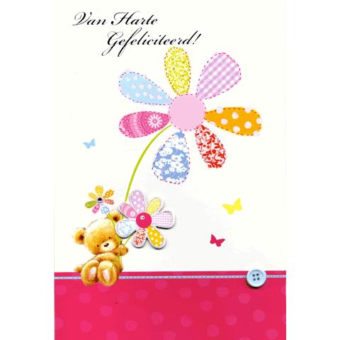 Kaart Van Harte Gefeliciteerd Beer met bloem Luxe kaart met button en folie