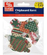 Bedrukt Chipboard Kerstfiguren Rood-Groen