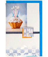 Kaart (198F) Blanco Cupcake met Kaarsen