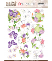 Jeanine's art 3D push out white butterflies classic butterflies and flowers