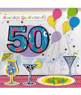 Kaart Hartelijk Gefeliciteerd 50 jaar Luxe 3D wenskaart met folie