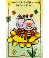 Kaart Neus Hartelijk Gefeliciteerd Lieveheersbeestjes op bloem Wenskaart met 3D neus